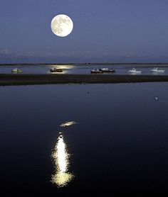 Moon Rise over Chatham Harbor, Cape Cod