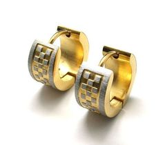 Men's Titanium Steel Gold Colored Earring Set Accessory