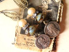 Our Lady - Vintage Religious Medal Assemblage Earrings