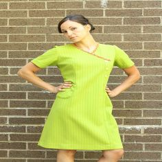Green Vintage 1960's Knit Pocket Dress Pink Sequins by BlackKittenVintage
