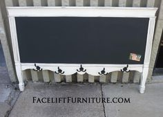 Coat/towel/hat rack with magnetic chalkboard. Painted distressed Off White, with Espresso Glaze. Made from repurposed antique twin foot board.