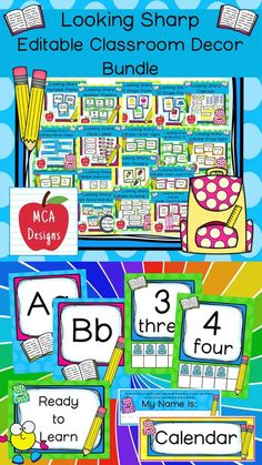 Check out my Looking Sharp Editable Classroom Décor Bundle features all you need to create a fresh new look for your classroom this fall! Check out the preview for a quick look at this colorful theme. My Looking Sharp Classroom Décor Bundle features my ENTIRE pencil collection including several editable features! #teacherspayteachers #tpt Classroom Décor, Classroom Supplies, Classroom Posters, 1st Grade Activities, School Resources, My Teacher, Classroom Management, Back To School, Kindergarten