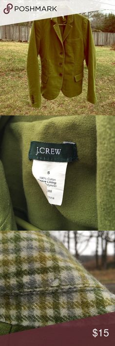 Green Parade, J.Crew Women's Blazer Beautiful J.Crew blazer in a gorgeous green. Well-loved. Does have a flaw - a small hole in the back of the collar - see pictures. Has some minor wear and tear. I wore this blazer up in Boston so much when I lived there. In good condition for being so loved. The collar can be worn up or down, so the flaw can be covered-up easily. Scarf listed separately in my closet. J. Crew Jackets & Coats Blazers