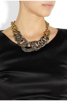 Yves Saint LaurentGourmette gold-plated crystal necklace