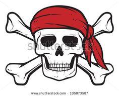 pirate skull, red bandana and bones (pirates symbol, skull and cross bones, skull with crossed bones) - stock vector