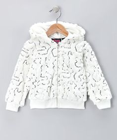 Take a look at this Ivory Sequin Zip-Up Hoodie - Girls by Blow-Out on #zulily today! Great for #fall through #spring!