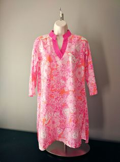 Lilly Pulitzer Tunic  / Beach Cover Up / Resort Wear Size Small / Short Pink Caftan by RestorologyVintage on Etsy