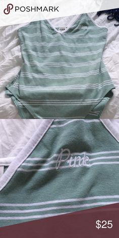 Light green body suit from pink Light green and white striped bodysuit from pink. Never worn! PINK Victoria's Secret Tops Tank Tops