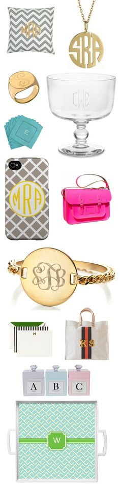 Monogrammed! Pillow – Luxury Monograms, Necklace – Sarah Chloe, Ring – Jennifer Zeuner, Cup – Williams Sonoma, Napkins – Houzz, iPhone Case – Whimsical Paper, Satchel – Cheap Chicas, Bracelet – Dannijo, Stationary – Kate Spade, Tote Bag – IoMoi, Candles – Archipelago, Tray – Fontaine Maury