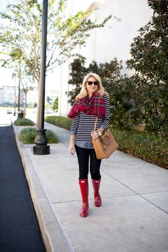 Red Hunter Boots with Red Plaid and Stripe Tunic