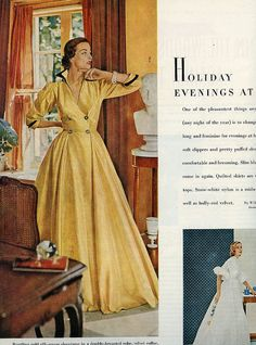 A beautifully sophisticated gold silk-gauze shantung robe from 1951.