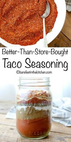 Make your own Taco Seasoning! get the recipe at barefeetinthekitc… - Tacos Ideen Homemade Dry Mixes, Homemade Spices, Homemade Seasonings, Homemade Tacos, Homemade Taco Sauce, Homemade Italian Seasoning, Homemade Fajita Seasoning, Make Taco Seasoning, Seasoning Mixes