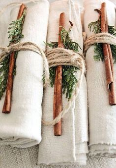 Beautiful for your holiday table! Love these napkins wrapped with pine and…