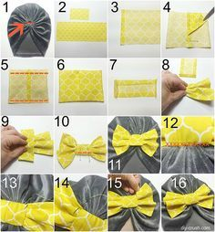 This quick tutorial shows you how to sew a cute bow to embellish clothing with. … This quick tutorial shows you how to sew a cute bow to embellish clothing with. This beanie looks fabulous with a bow! Diy Baby Headbands, Diy Headband, Baby Bows, Sewing Projects For Beginners, Sewing Tutorials, Sewing Patterns, Sewing Tips, Sewing Hacks, Sewing Stitches
