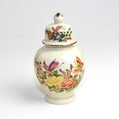 Butterfly Papillon Ginger Jar by Otagiri Japan - Ceramic Lidded Storage or Vase, Colorful Floral Print.