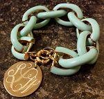 Monogrammed Mint Chain Length Enamel Bracelet   Marley Lilly