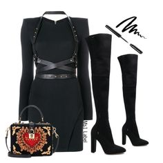 """""""Leather dress"""" by ms1-ltu on Polyvore featuring Gianvito Rossi, Balmain, Dolce&Gabbana and Bobbi Brown Cosmetics"""