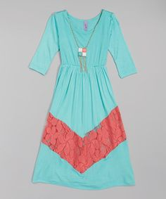 Another great find on #zulily! Mint Lace Chevron Maxi Dress & Necklace - Toddler & Girls by Maya Fashion #zulilyfinds