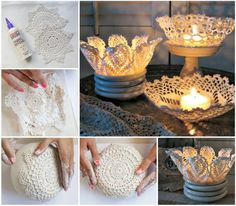 You will love this collection of Doily Candle Holder Ideas and we have rounded up all the top Pinterest Pins so you don't have to. Watch the video too.