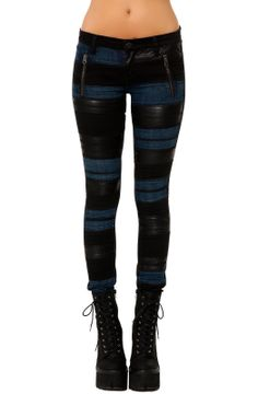 """Just bought these """"Karmaloop"""" vegan leather & blue jean skinny by Blank NYC. Can't wait to wear them! #rockchick #style #fashion"""