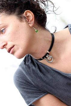 Leather choker omega ring choker  leather collar for women