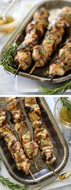 Balsamic and Honey Chicken Skewers with Rosemary is a super simple marinade for chicken breasts on the grill on foodiecrush.com #recipe #grillrecipes #chicken