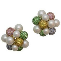 Seaman Schepps Cultured Pearl Colored Stone Bubble Earclips