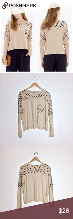 Madewell Effortless Tee in Dot Adorable and soft tee with a slightly cropped, swingy fit. 100% cotton. Only worn once. Excellent condition. Style B6442. Madewell Tops Tees - Long Sleeve