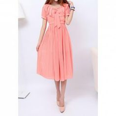 $16.43 Sweet Flouncing Scoop Neck Short Sleeve Pleated Chiffon Dresses For Women