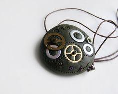 Steampunk polymer clay pendant by kapelusznik, $23.90