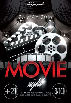 Check Out New Work Movie Night Psd Flyer Template Movie Night