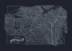 BROOKLYN BLUEPRINT MAP Old Map of Brooklyn by EncorePrintSociety