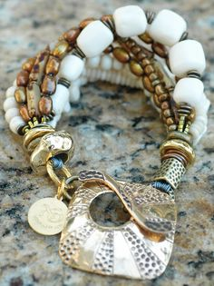 Mixed-Media White Venetian Glass, Bone, Pearl and Metals Bracelet $175Click to buy