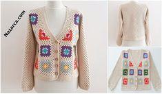 KOLAY ETAMİN ÖRNEKLERİ   Nazarca.com Baby Knitting Patterns, Crochet Patterns, Chevron Purse, Granny Square Crochet Pattern, Sweaters, Cardigans, Beads, Sari, Fashion