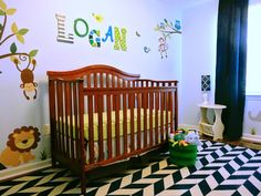 Project Nursery - Herringbone Rug in this Jungle Themed Nursery