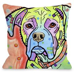 """The Boxer"""" Indoor Throw Pillow by Dean Russo, 16""""x16"""
