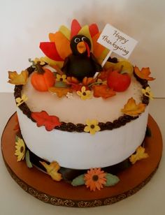 Beautiful cake perfect for Thanksgiving or Autumn gathering    Bake     Happy Thanksgiving Cake  all decorations made from gumpaste  CakesbyLauren