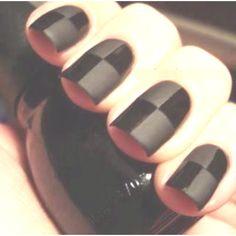 Black checkered nails I need matte nail polish! Do It Yourself Nails, How To Do Nails, Fun Nails, Pretty Nails, Tape Nails, Chloe Nails, Gloss Matte, Nail Polish, Fabulous Nails