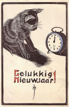 vintage Happy New Year postcard cat