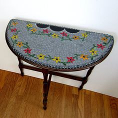 Mosaic Mahogony Accent Table-side table-mosaic art-repurposed