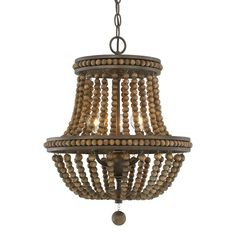 Austin Allen & Co. Handley Tobacco w/ Stained Wood Beads Three-Light 16 in. Chandelier in Tobacco/Stained Wood Beads Brown Beaded, Bohemian Empire Chandelier, 3 Light Chandelier, Beaded Chandelier, Wheel Chandelier, Outdoor Chandelier, Kitchen Chandelier, Eclectic Chandeliers, Traditional Chandeliers, Urban Decor