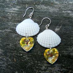 Mermaid Golden Hearts Seashell Earrings by ShellScapes