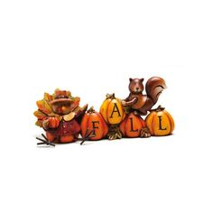 """CC Home Furnishings 7"""" Autumn Inspiration Decorative Fall Turkey and... ($29) ❤ liked on Polyvore featuring home, home decor, holiday decorations, autumn, decor, animals, pumpkin, text, table top home decor y fall home decor"""
