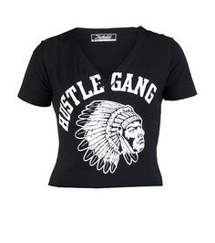 2c3419ffb930 HUSTLE+GANG+Stretch+crop+top+Short+sleeves+V+neck+design+HUSTLE+GANG +logo+on+front