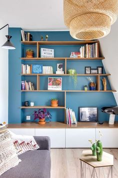 open shelf styling, boho living room decor or home office decor,playroom decor Bookshelves In Living Room, Living Room Storage, Boho Living Room, Small Living Rooms, Living Room Furniture, Living Room Designs, Living Room Decor, Tiny Living, Small Bookshelf
