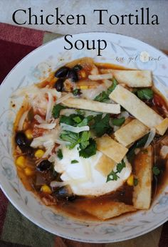 Chicken Tortilla Soup.  Flavorful.  Easy.  Delicious.  Perfect weeknight meal.