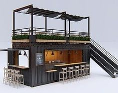 Container Cafe and Restaurant Container Home Designs, Café Container, Container Coffee Shop, Cafe Interior Design, Cafe Design, House Design, Food Truck Interior, Design Design, Graphic Design