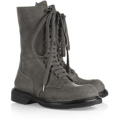Rick Owens Distressed-leather combat boots ($1,750) ❤ liked on Polyvore