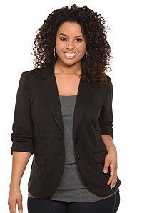Black Ponte Ruched Sleeve Blazer  $58.50 (plus size) - I received this as a gift and it's just as great as the pic!