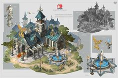 U-MATCH fire source brother scene class student part works Fantasy Concept Art, Game Concept Art, Fantasy Artwork, Fantasy City, Fantasy Castle, Fantasy World, Environment Concept Art, Environment Design, Buildings Artwork